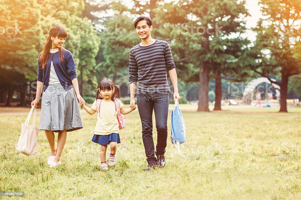 Japanese family in the park stock photo