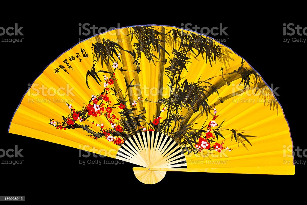 Japanese fan on a black background royalty-free stock photo