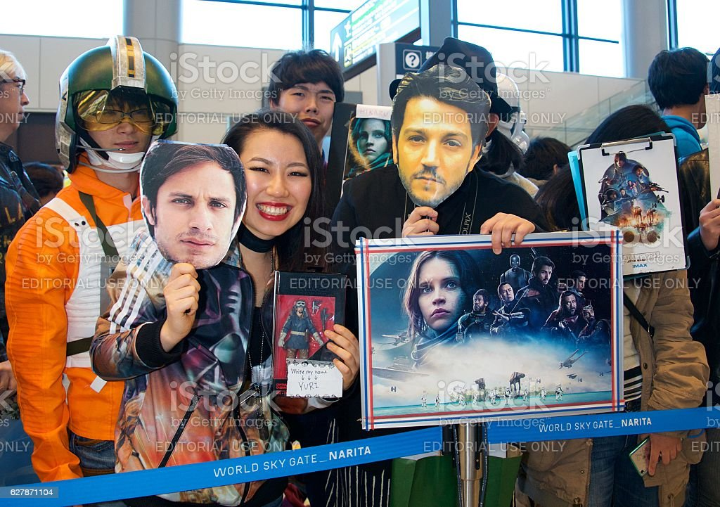 Japanese fans wait for the 'Rogue One' Movie Cast stock photo