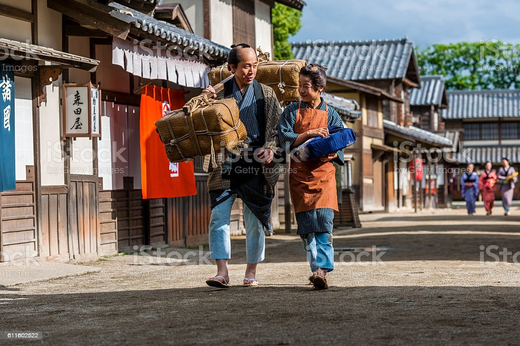 Japanese farmers walk down our street,Kyoto,Japan stock photo