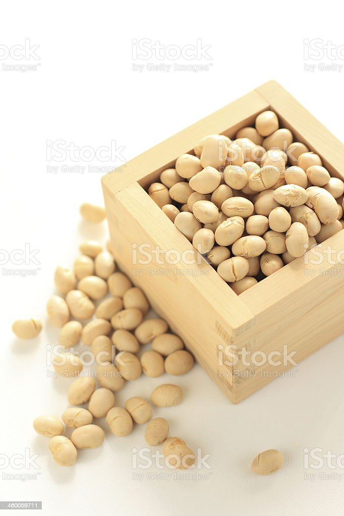 Japanese festival food, soy bean in Masu for mamemaki image stock photo