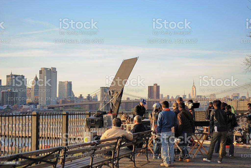 Japanese Film Crew in Brooklyn stock photo