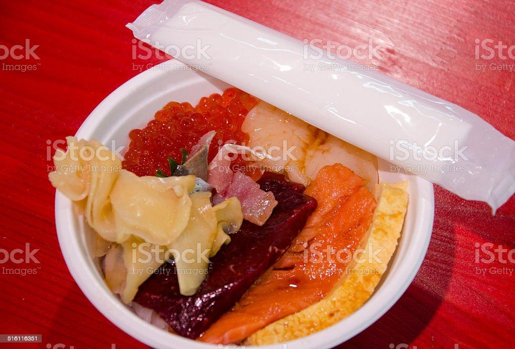 Japanese Fish Market Sashimi Bowl stock photo