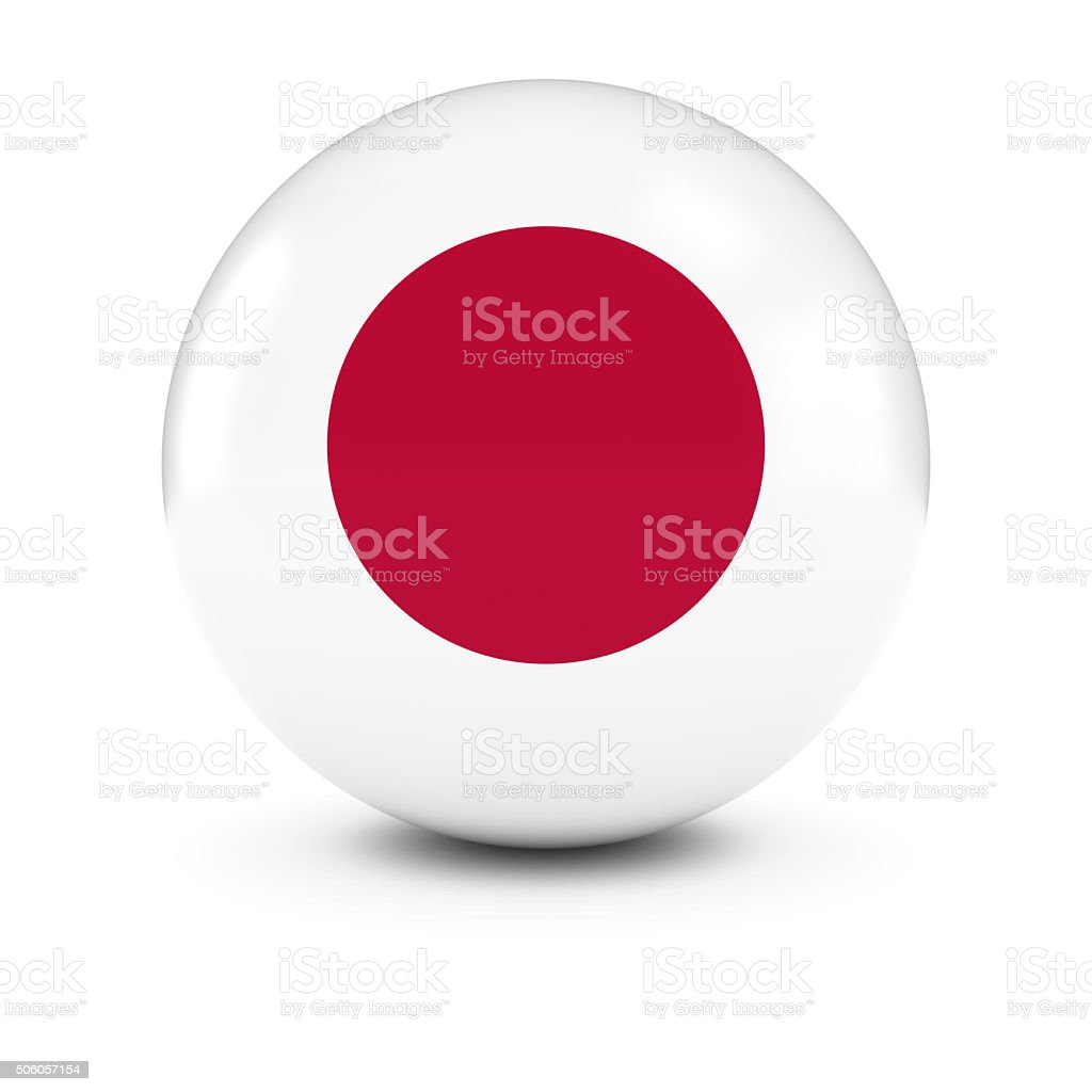 Japanese Flag Ball - Flag of Japan on Isolated Sphere stock photo