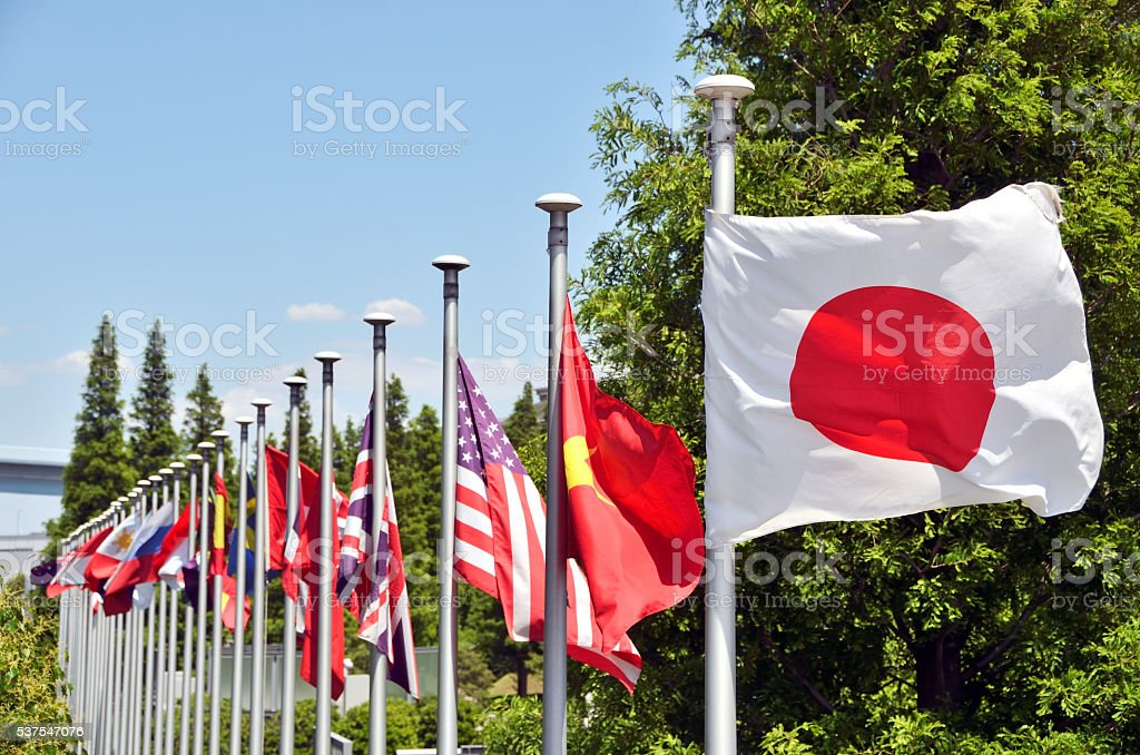 Japanese flag 'Hinomaru' and a variety of national flags stock photo