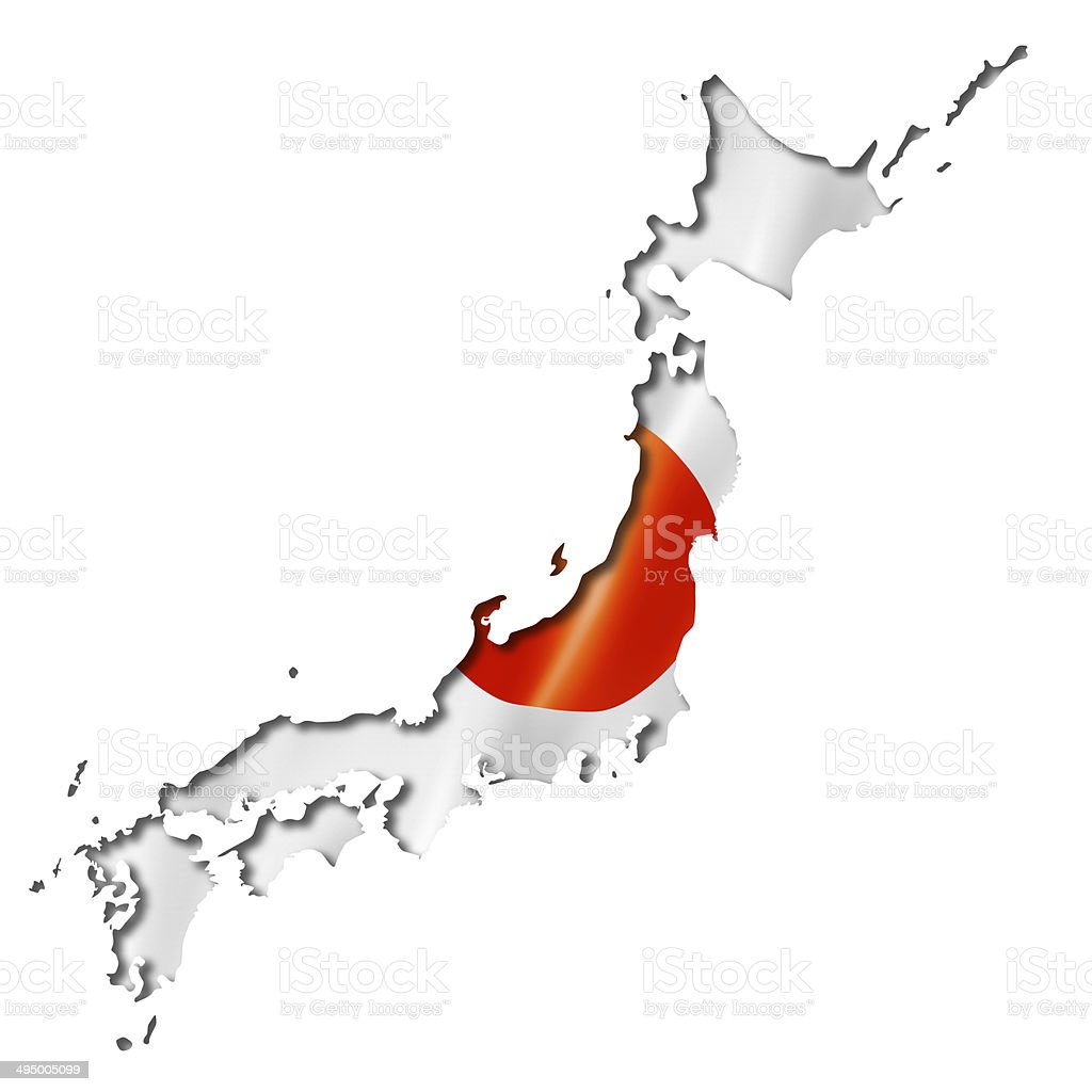 Japanese flag map stock photo