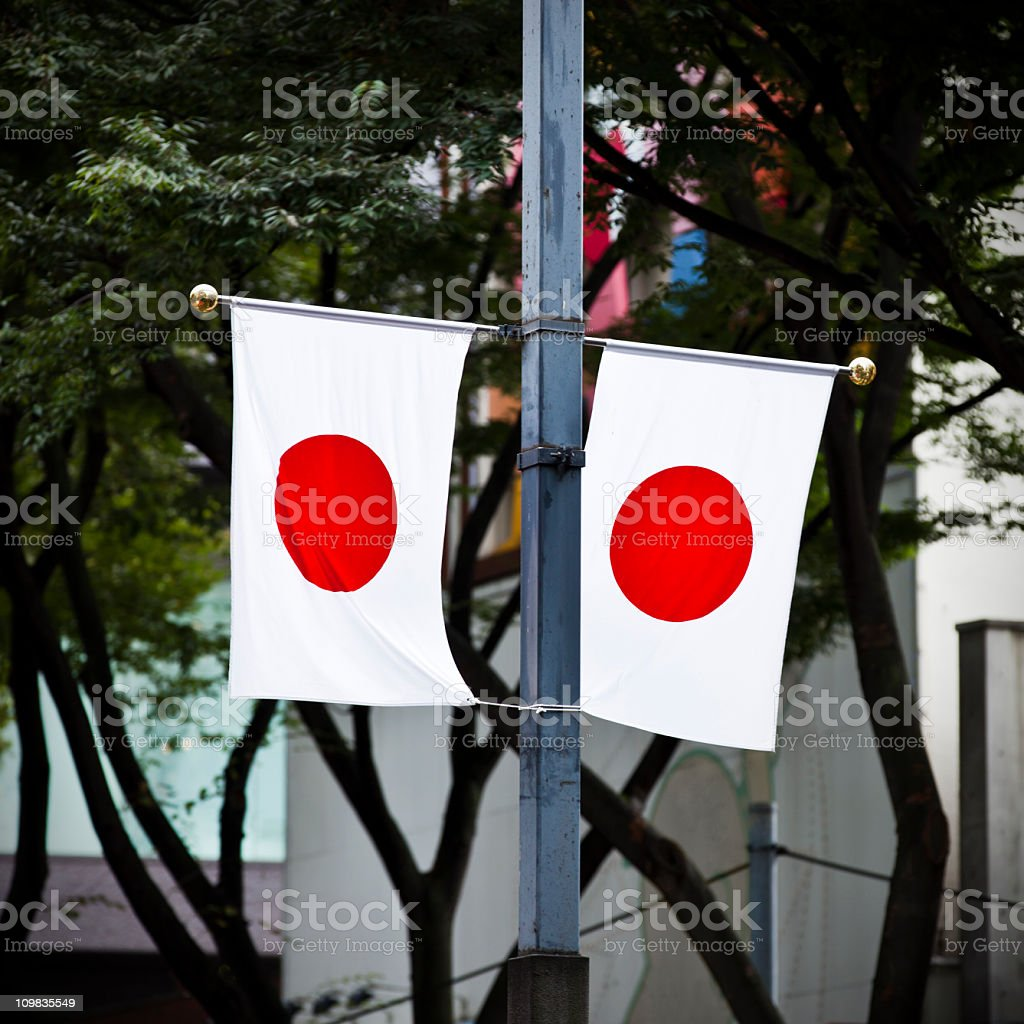 Japanese flags on pole royalty-free stock photo