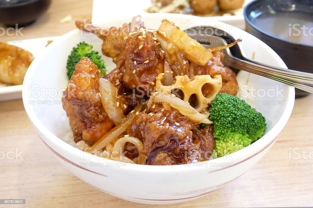 japanese food 'chicken don' with broccoli and onion stock photo