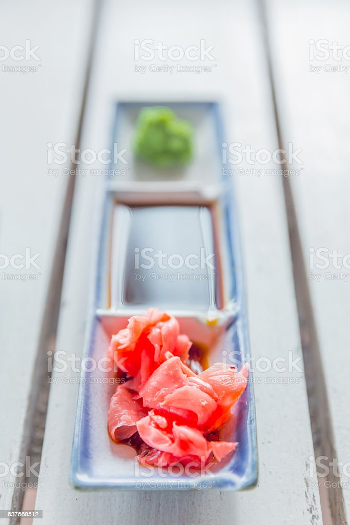 Japanese food condiment, ginger and wasabi stock photo