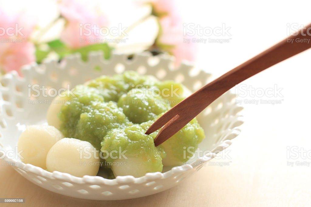 Japanese food, dango with edamame sauce stock photo