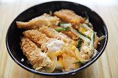 Japanese food deep fried pork with egg Katsudon