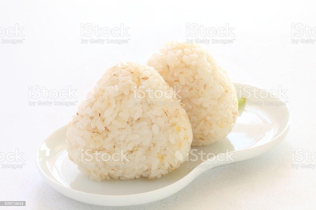 Japanese food, Gokoku rice ball stock photo