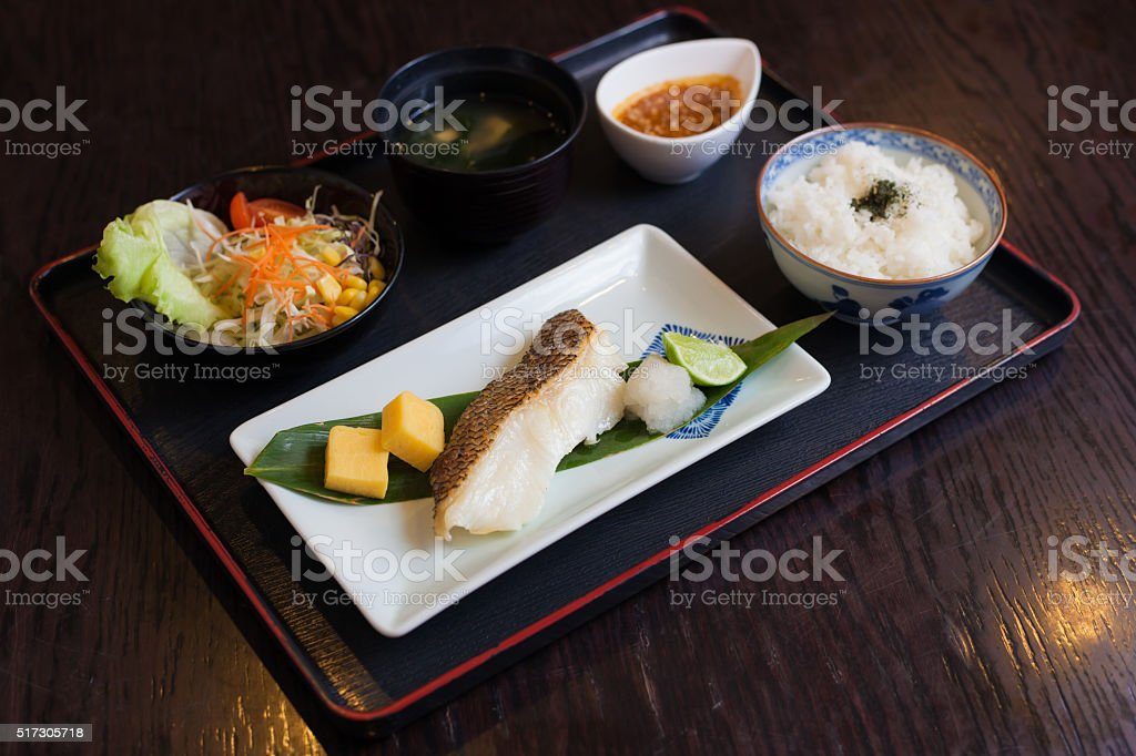 Japanese food, grilled fish sea bream with lemon stock photo