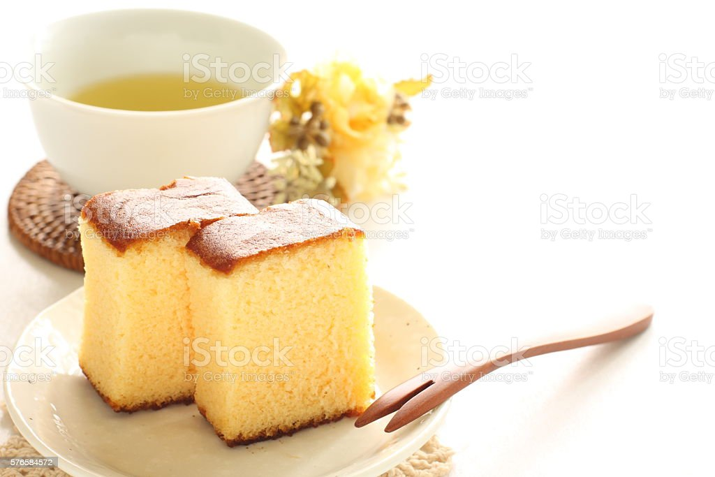 Japanese food, Kasutera cake stock photo