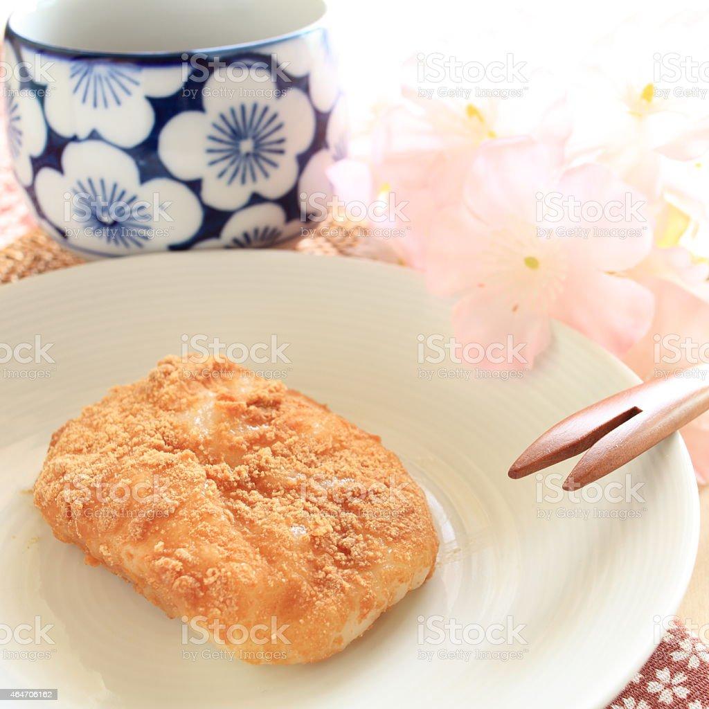 Japanese food, kinako mochi stock photo