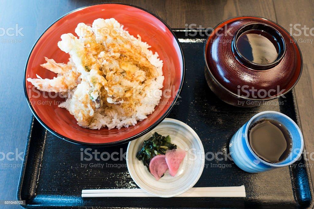 Japanese Food Meal: Shrimp Tempura and Miso Soup stock photo