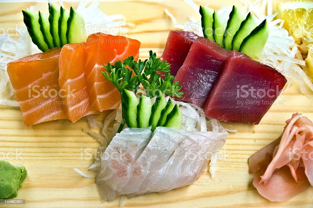 Japanese Food,  Menu of 3 Sahimi- royalty-free stock photo