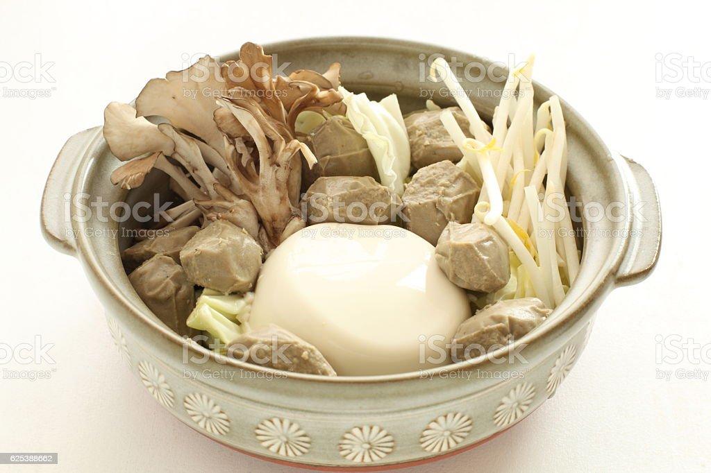Japanese food, mushroom and tofu stock photo