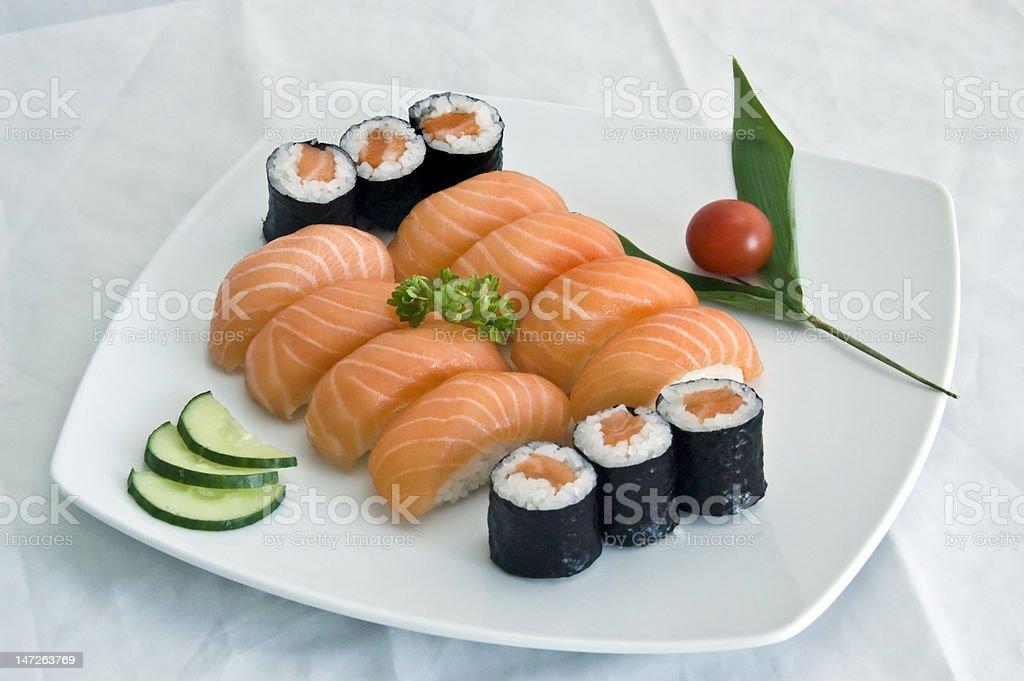 Japanese Food, Salmon Sushi & 6 Maki royalty-free stock photo