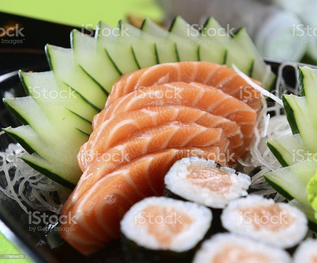 Japanese food - Sashimi and sushi royalty-free stock photo