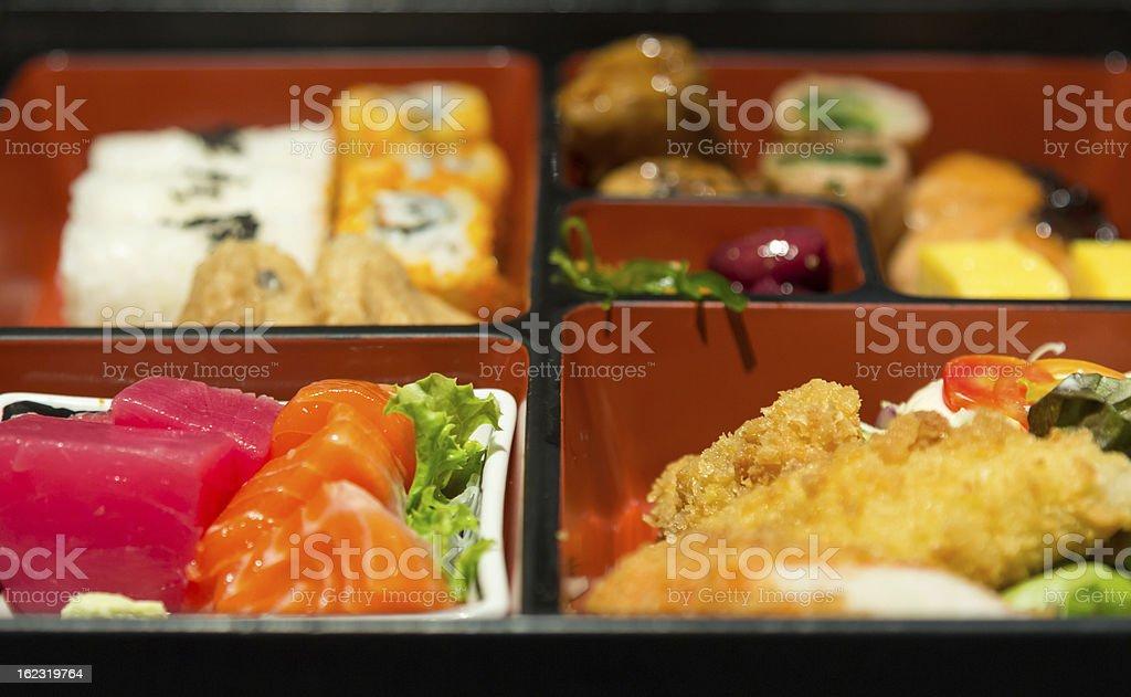 Japanese food set in box royalty-free stock photo
