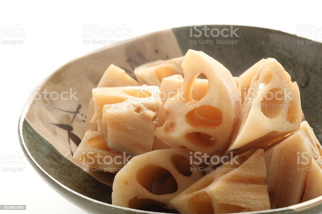 Japanese food, simmered lotus roots stock photo