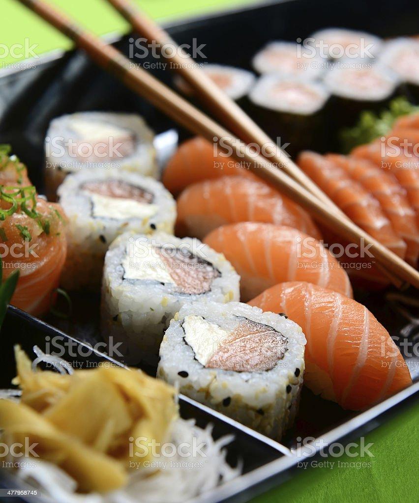 Japanese food - sushi and sashimi royalty-free stock photo