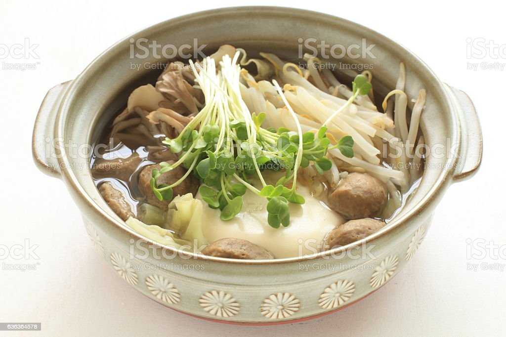 Japanese food, tofu and fish ball hot pot stock photo