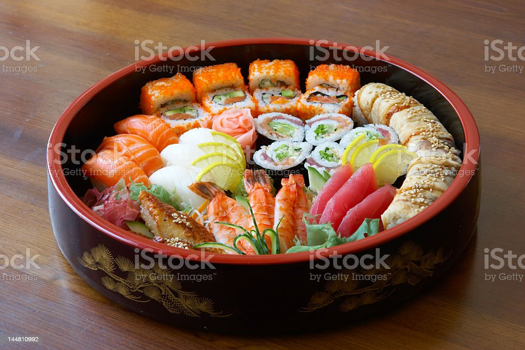 Japanese food with sushi and rolls royalty-free stock photo