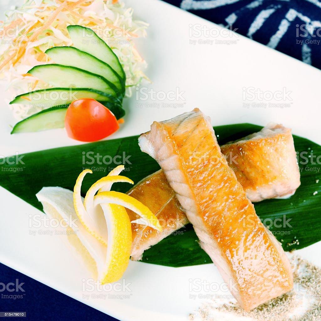Japanese food-Baking salmon stock photo