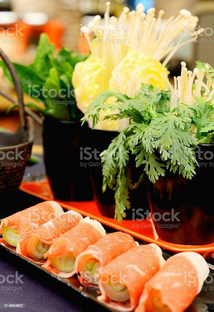 Japanese food-Beef Flammulina Velutipes stock photo