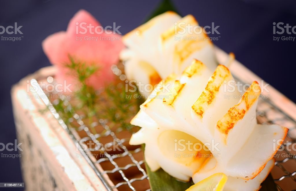 Japanese food-calamari rings stock photo