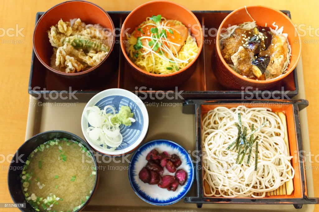 Japanese food,Tri-color Don stock photo