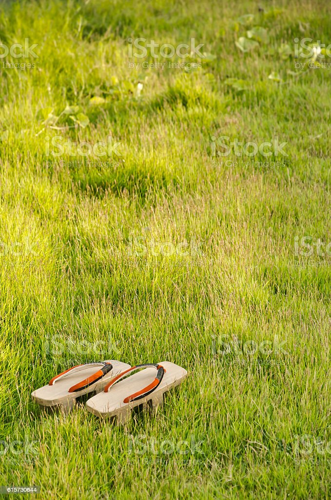 Japanese footwear.have space write words. stock photo