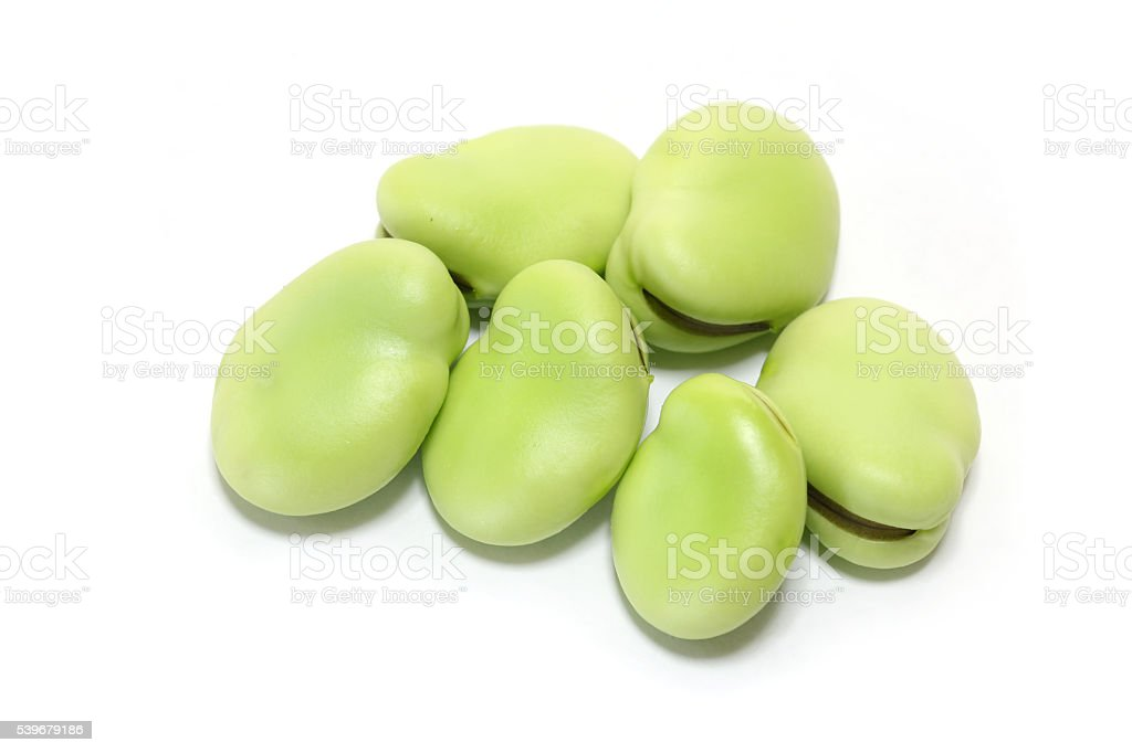 Japanese fresh broad bean in white stock photo