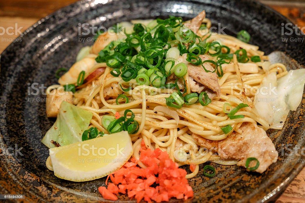 Japanese fried noodle stock photo
