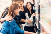 Japanese friends on a vending machine