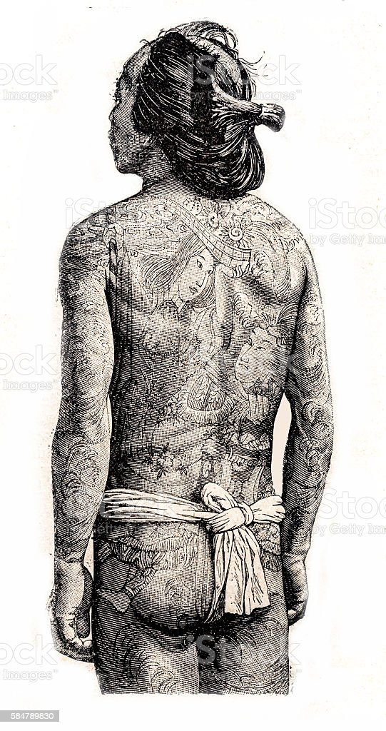 Japanese full body tattooed man wearing a mawashi stock photo