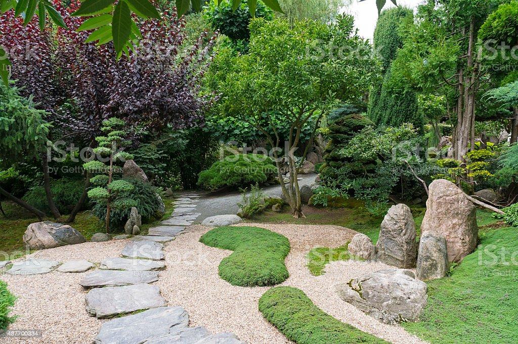 Japanese Garden, Bonsai Tree, Japanese cherry, Zen stock photo