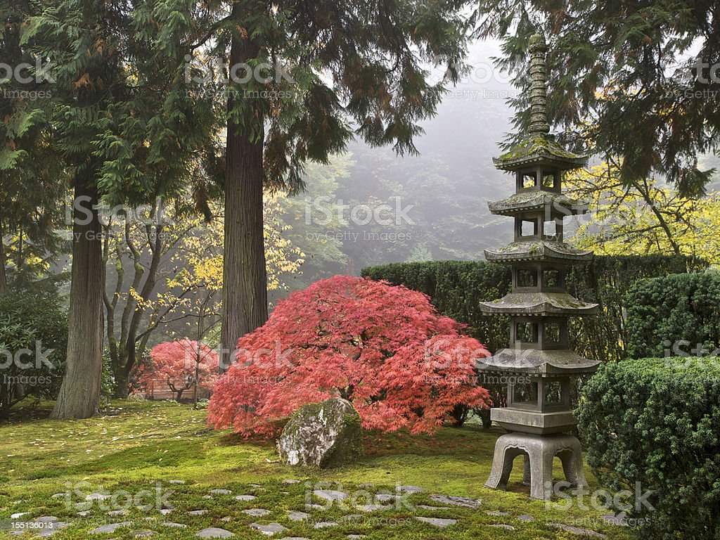Japanese Garden Fall Colors Sapporo Pagoda Lantern Portland Oregon stock photo