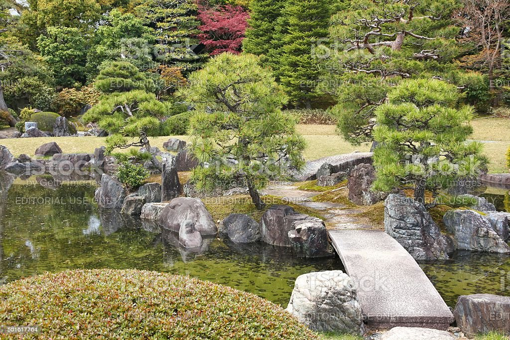 Japanese garden in Kyoto stock photo