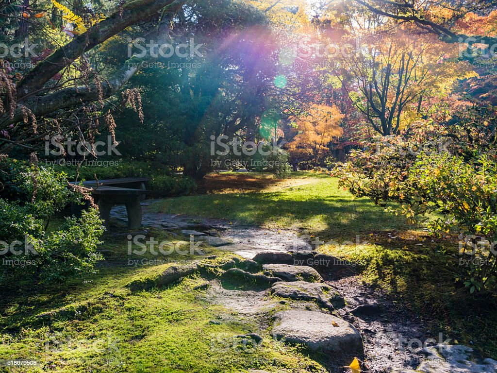 Japanese garden in Seattle stock photo