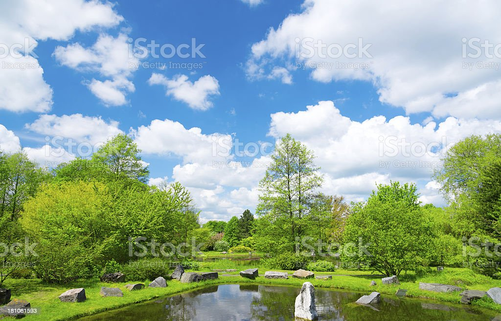 Japanese Garden in Spring royalty-free stock photo