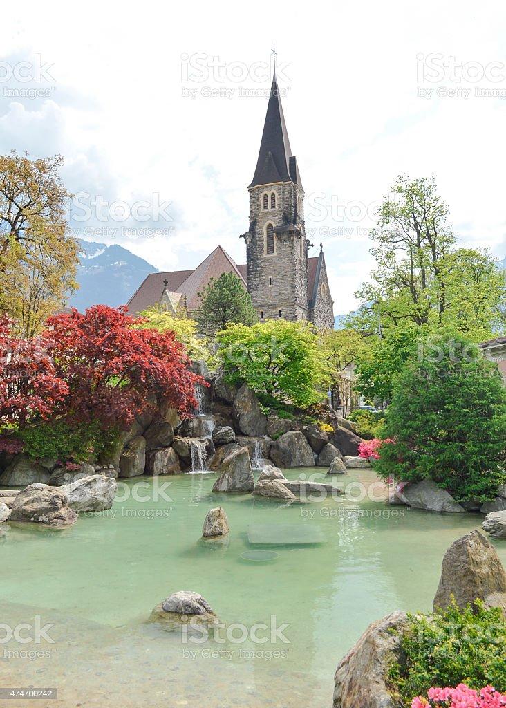 Japanese garden Interlaken. Garden of Friendship stock photo