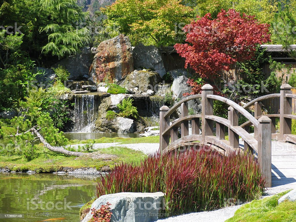 Japanese garden with wooden bridge and waterfall stock photo