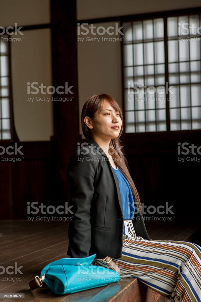 japanese girl at the Hyakumanben Chionji Temple  in kyoto japan stock photo