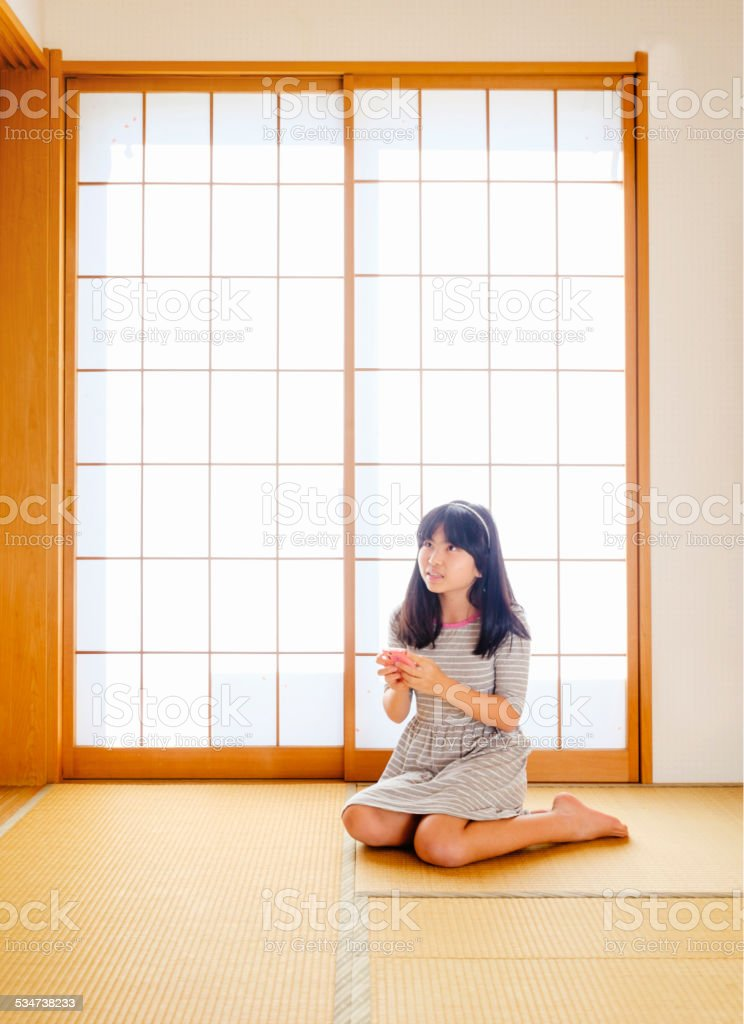 Japanese Girl in a Home stock photo