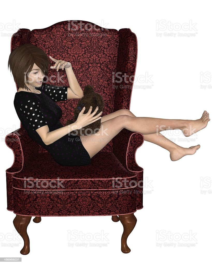 Japanese Girl in Armchair royalty-free stock photo