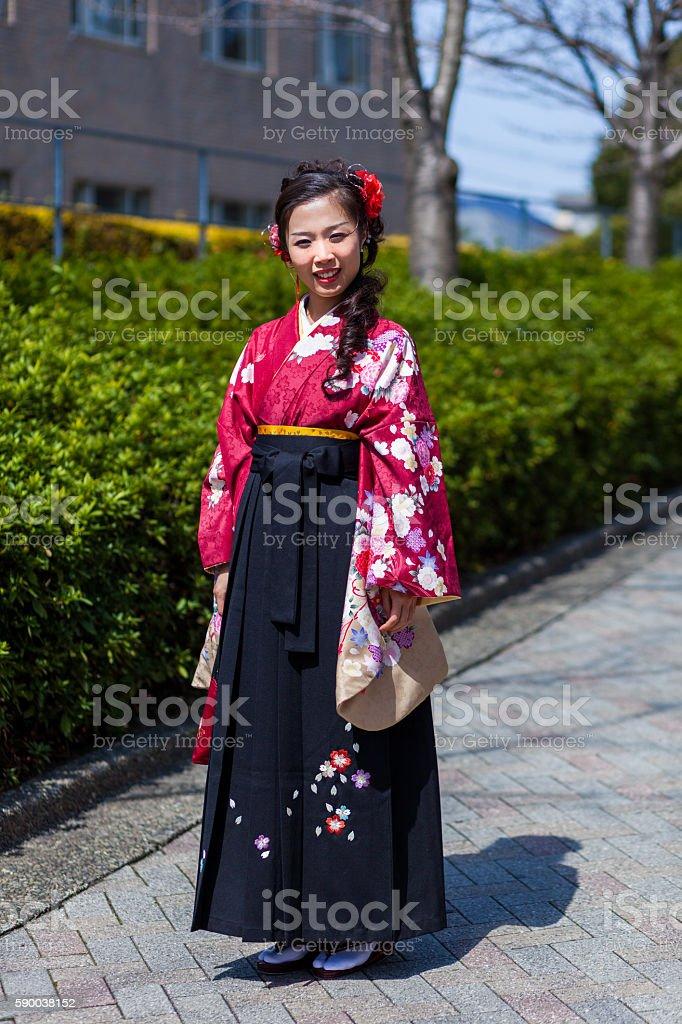 Japanese Girl in Hakama stock photo