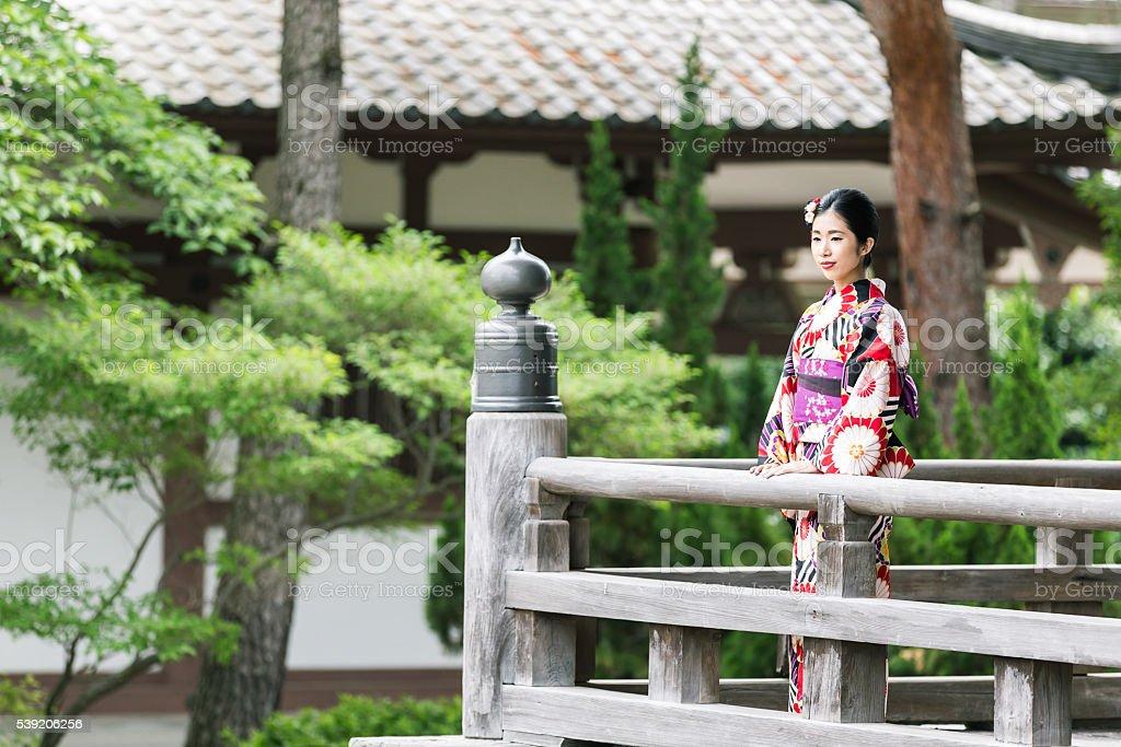 Japanese Girl in Kimono at Chionji Temple, Kyoto, Japan stock photo